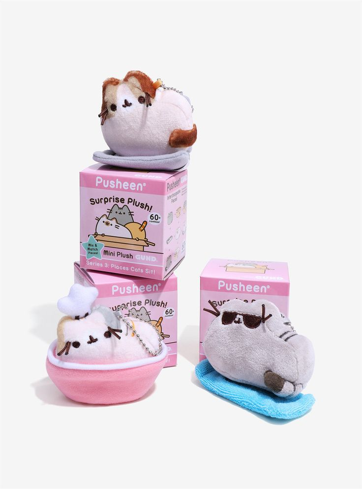 """Pusheen blind box plushes are here! Pusheen enjoying a shopping bag, shipping box, cat bed, cooking bowl, book, piano, beach towel, and a mystery style. Which one will you get? It's a surprise!  Sorry, no choice or returns.  Approx. 2 1/2"""" tall  Imported"""