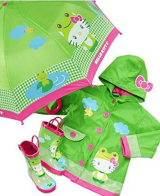 Western Chief Kids Rain Gear, Girls Hello Kitty Frog Rain Set - Kids - Macy's
