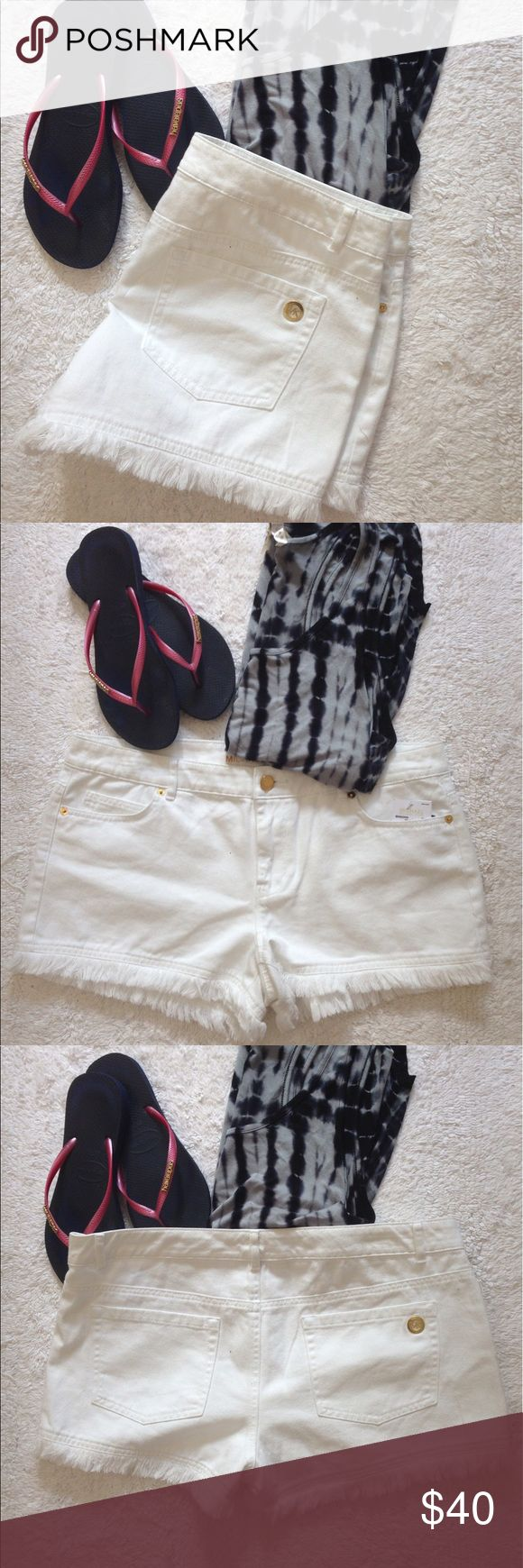 """Michael Kors Frayed White Denim Shorts Cute Michael Kors frayed, white denim shorts. Size 10. Length is 10"""" inches. 100% cotton. Machine wash inside out, tumble dry low. Nontrades or PayPal please. Michael Kors Shorts Jean Shorts"""