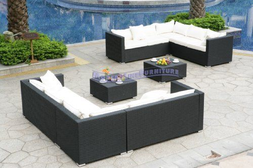 Modern Furniture All-Weather Collection: 2 White Sectional Sofas and 2 Coffee Tables by ModernLineFurniture. $3299.95. Both sets include 4pc sectional sofa (Left/Right End, Corner), Pillows, and coffee table; Ships within 4-5 days.; In stock in NJ warehouse.; Outdoor sectional features: Resin wicker material and frame w/ rust-proof coated aluminum; Covers are conveniently removable and machine washable. Dimensions: See photo above for the proper measurements