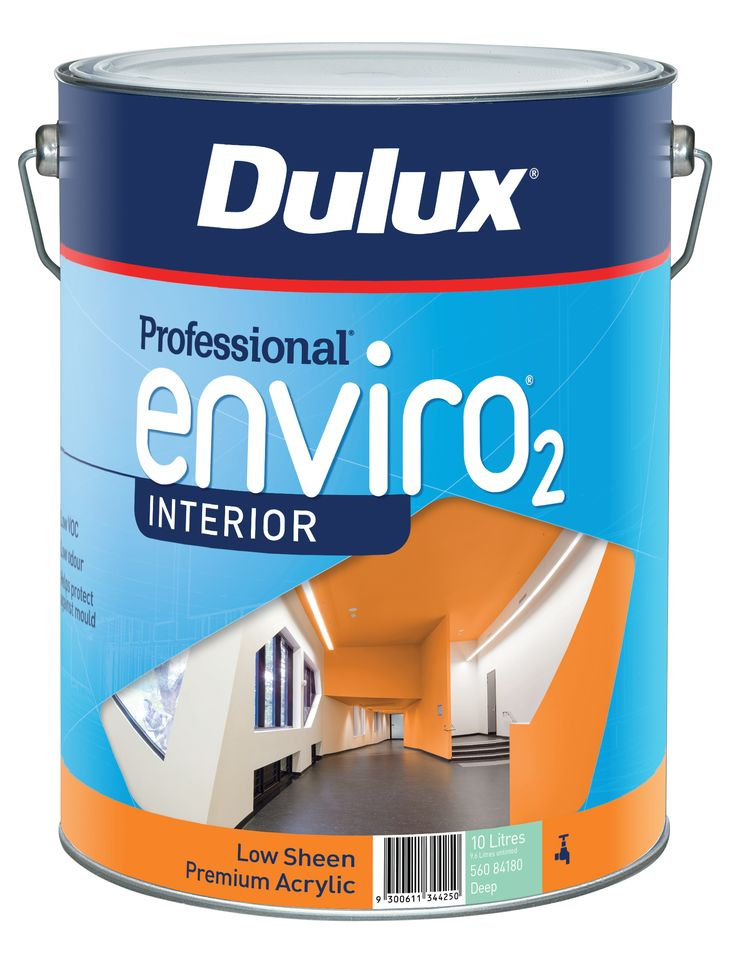 Dulux Professional EnvirO2 is a premium water-based, interior paint range formulated for the Trade applicator. It has very low VOC content and low odour. All topcoats contain antimould and antibacterial protection.  Suitable for residential and commercial applications.