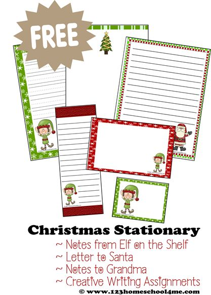 ♥♥ FREE Christmas Stationary ♥♥ This Holiday paper is perfect for notes from Elf on the Shelf, letters to Santa, letters to Grandma, and other holiday writing