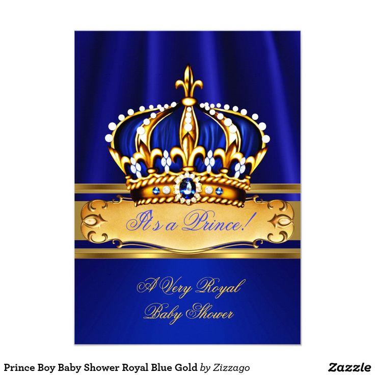 Prince Boy Baby Shower Royal Blue Gold 4.5x6.25 Paper