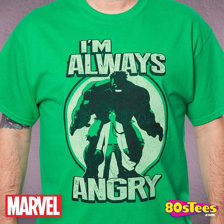 I'm Always Angry Hulk T-Shirt made by Mighty Fine in collections: Super Heroes: Hulk, & Department: Adult Mens, & Color: Green