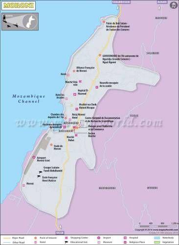 cool Map of Moroni, Capital of Comoros