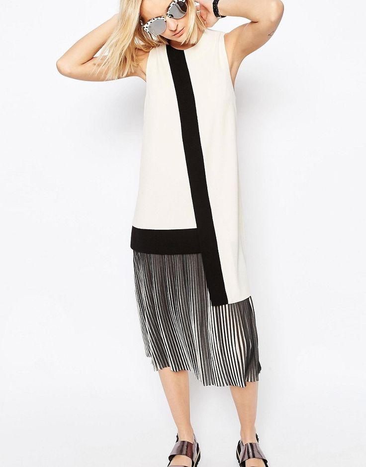 Bild 3 von ASOS WHITE – Asymmetrisches Kleid mit Faltensaum