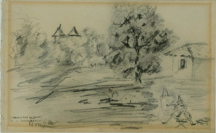 Henri de Toulouse-Lautrec (French, 1864-1901), The Painter before his Subject, c. 1880. Pencil on paper, 14.1 x 22.6 cm.