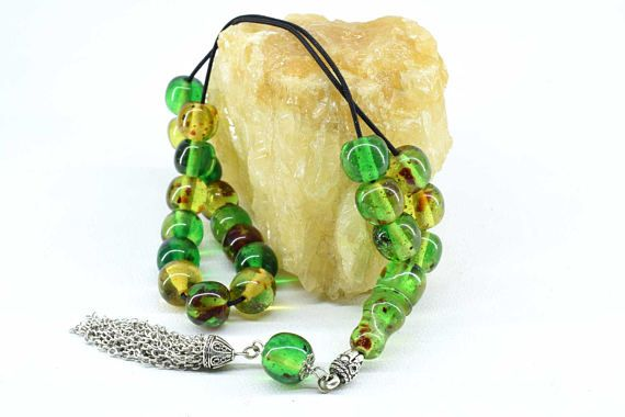 Green Caribbean Amber color Worry Beads Greek Komboloi