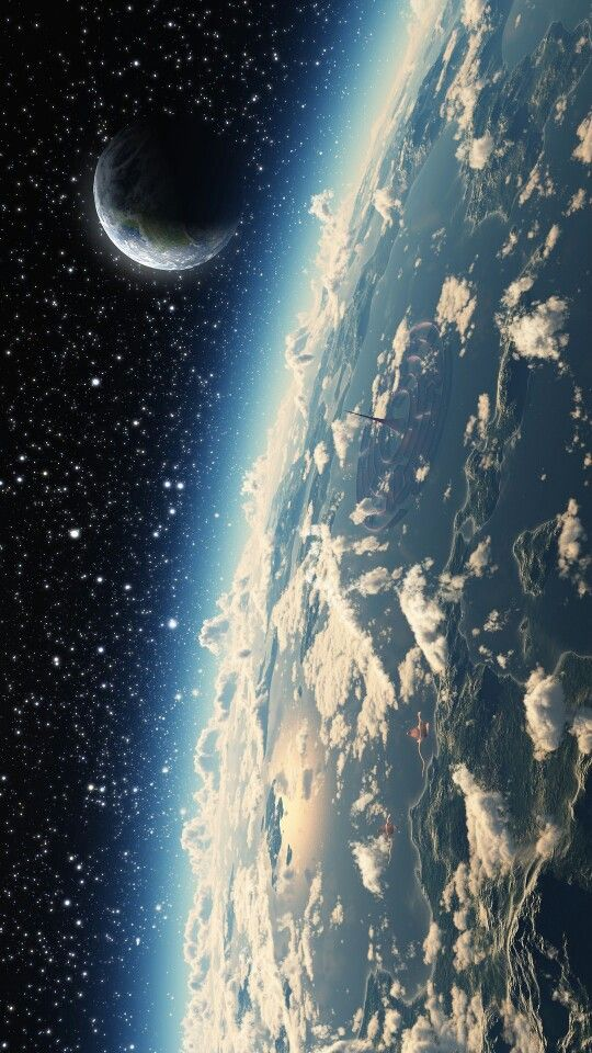 Outer Space   The moon and earth from space.....