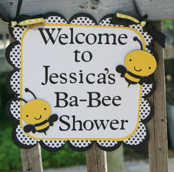 Bumble Bee Door Welcome Sign Yellow Black White Baby Shower Mommy To