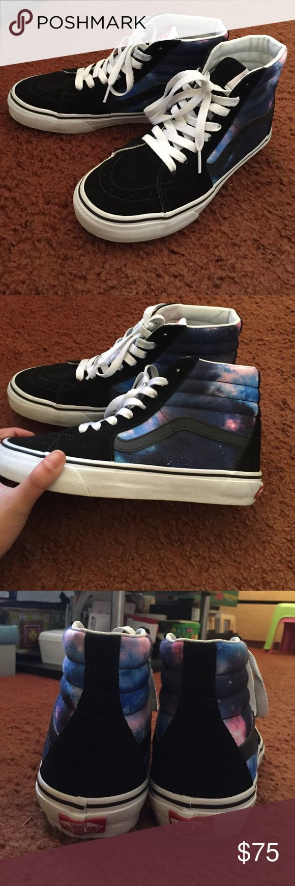 RARE GALAXY VANS SK8 HI GALAXY VANS SK8 HI. Worn many times! I'm still iffy about selling these 😁 Super cute. I love these shoes soooo much they're just too small for me now :( There are some wear here and there.  These were custom made on the Vans website. You can not find these anywhere. There is some discolor in on the laces ( look at my other post on my other vans ) but they aren't that bad and aren't that noticeable. REASONABLE OFFERS ONLY. The lowest I'll go will be $70. Size 6.5 in…