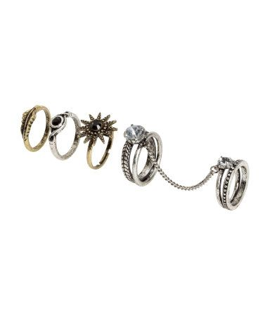 Check this out! Rings in antiqued metal with various decorations. One is a double ring linked by a chain. - Visit hm.com to see more.