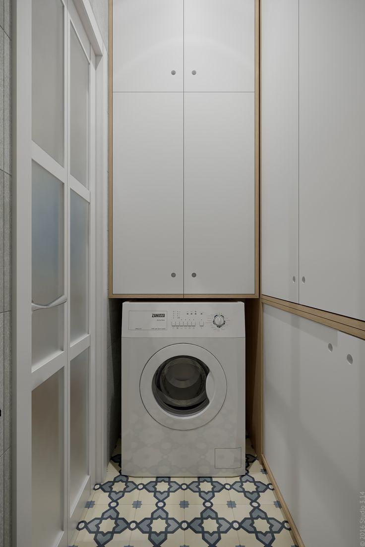 В туалете нашлось место для стиральной машины.