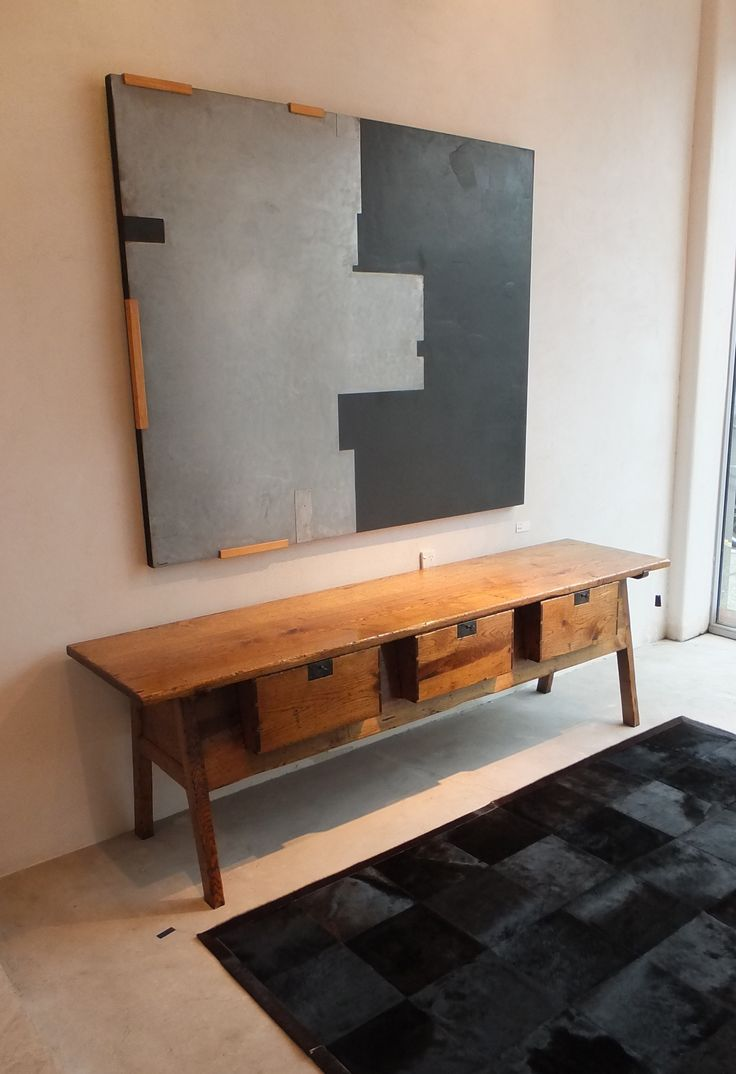 French Oak Spanish Serving Table - Black Cowhide Rug -