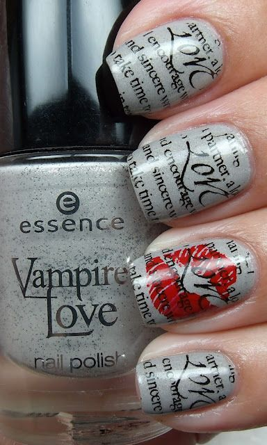 Colores de Carol: Essence The Dawn Is Broken: Love Nails, Nails Art, Nailart, Nails Design, Nails Polish, Popular Nails, Vampires Love, Newspaper Nails, Paintings Nails