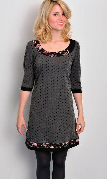 *** Jersey Kleid - grau - Polka Dots - Blumen von stadtkind potsdam auf DaWanda.com