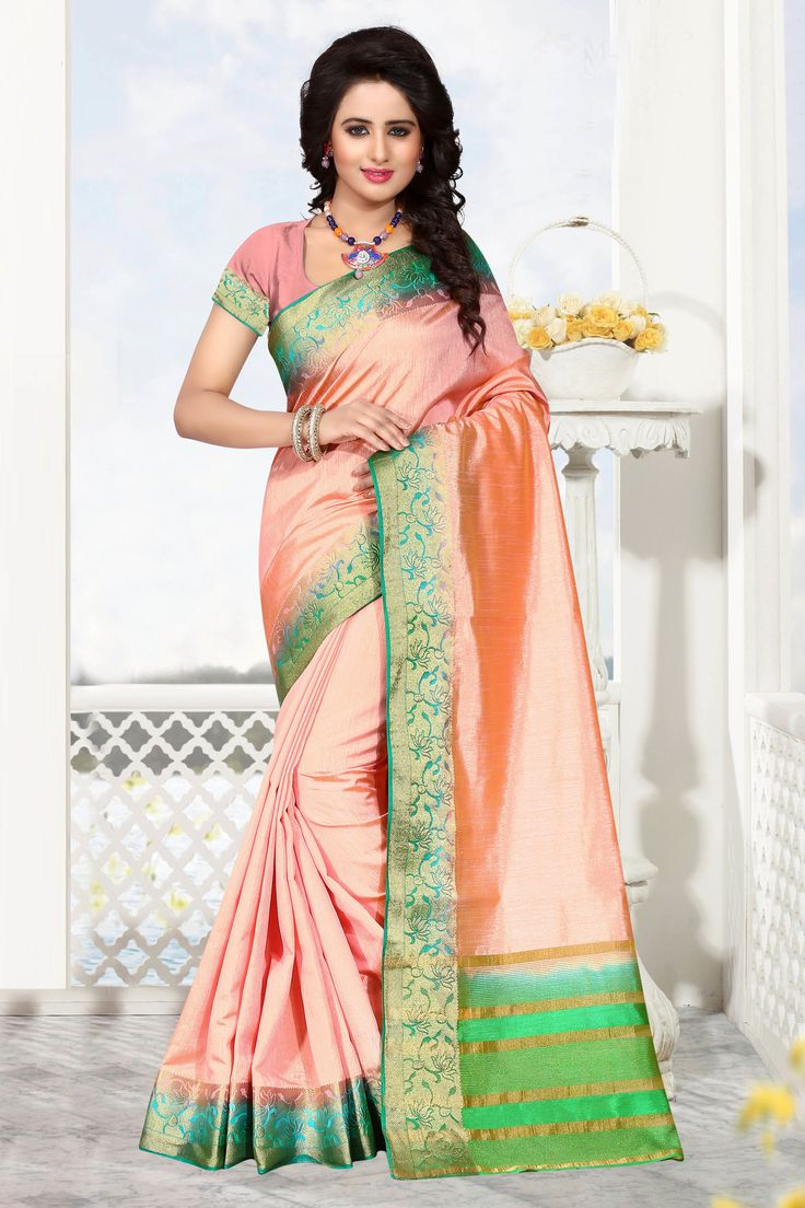AriLuxmi Fall Collection. Style # Gina - 1163-1164 We bring to you beautiful raw silk sarees in the color combination of yellow and red. Wash with care. It's a beautiful saree with an unstitched blous