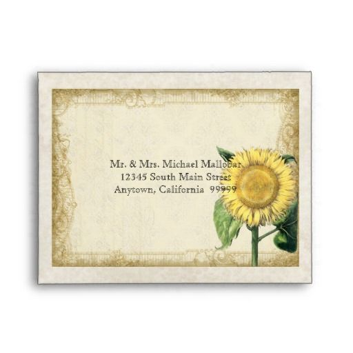 A2 Vintage Floral Sunflowers - Autumn Fall Wedding Envelopes