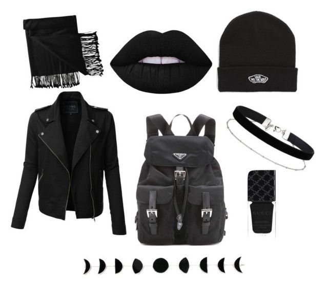 """""""BLK autumn needs"""" by eline-storli on Polyvore featuring LE3NO, Lime Crime, Vans, Prada, Miss Selfridge, Gucci and New Directions"""