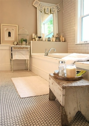 white subway tile, penny floor tile with dark grout