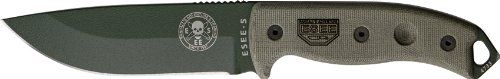 ESEE Knives 5PKOOD Foliage Green Powder Coated Blade Model 5 Fixed Blade Knife with OD Green Canvas Micarta Handles