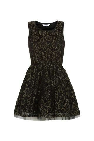 Black and gold patterned dress- new look