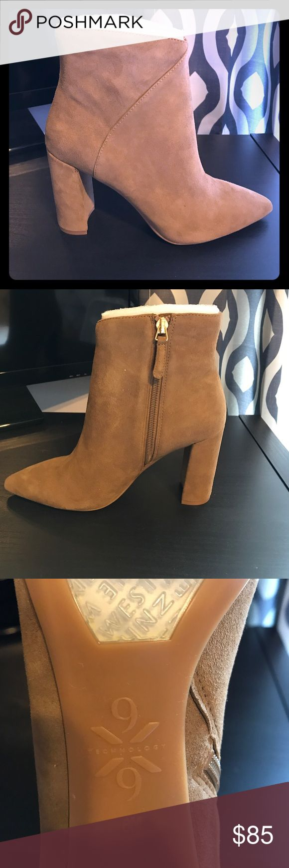 "🎀NWOB Nine West Suede Booties🎀 Nothing screams Fall more than a pair of pointed toe, camel colored suede booties! OBSESSED with the 3 1/2"" chunky heel! I received these in my stitchfix but then realized that where I live I wouldn't be wearing these for long 😔 my loss is your gain! These have never been worn & will come in the bag I received them in. I purchased these for $120 so price is firm! Size 6. Smoke FREE home as always! 💕 Nine West Shoes Ankle Boots & Booties"