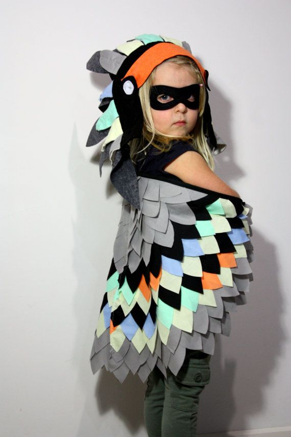 Neon Full Feathered Bird set costume dress up fancy dress