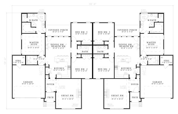 Multi family plan 62238 floors floor plans and duplex plans for Multifamily plans