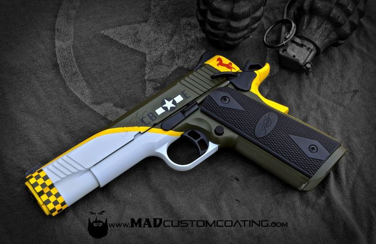 Happy Veteran's Day! Here's a WWII Mustang themed Kimber 1911. Special thanks to all of our veterans! For more projects visit www.madcustomcoating.com.