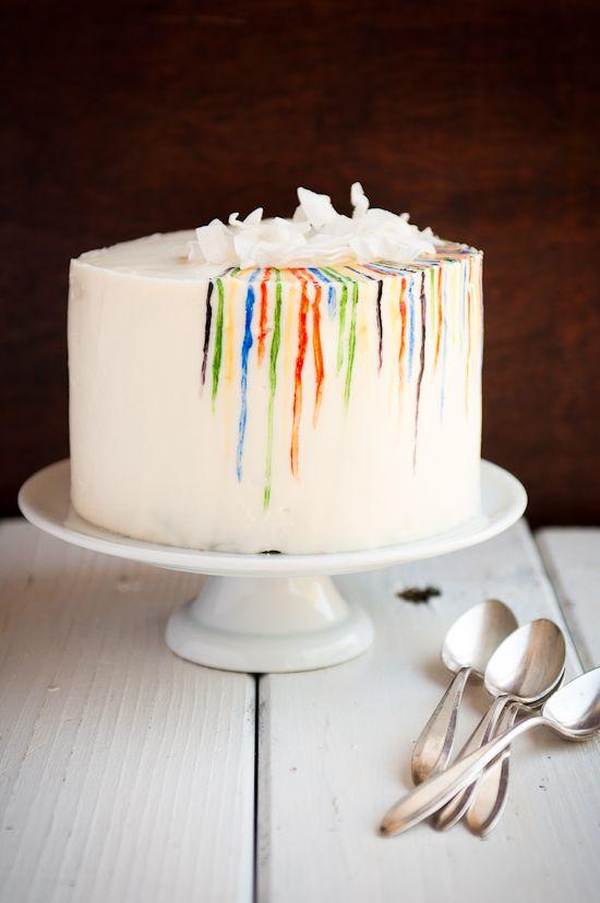 Rainbow painted cake.