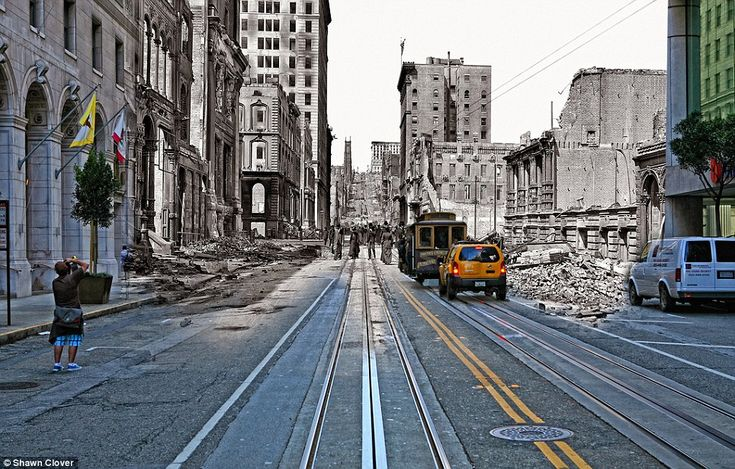 Ode to San Fran: A tourist takes a photo of a cable car heading towards the California St incline - if only he could see the aimless people of the past