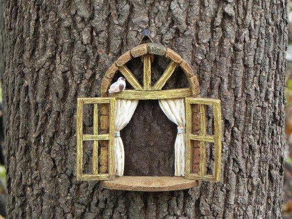 Fairy Garden Accessories Window with bird - miniature garden accessory - fairy garden supply - miniature garden supplies miniature bird