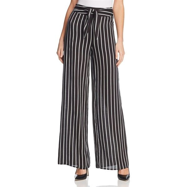 Aqua Striped Tie-Waist Wide-Leg Pants - 100% Exclusive ($46) ❤ liked on Polyvore featuring pants, tie waist trousers, striped pants, vertical stripe pants, aqua pants and striped trousers