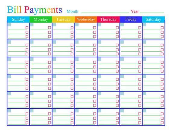Bill Payments Calendar Bills Tracker Bill Calendar Bills