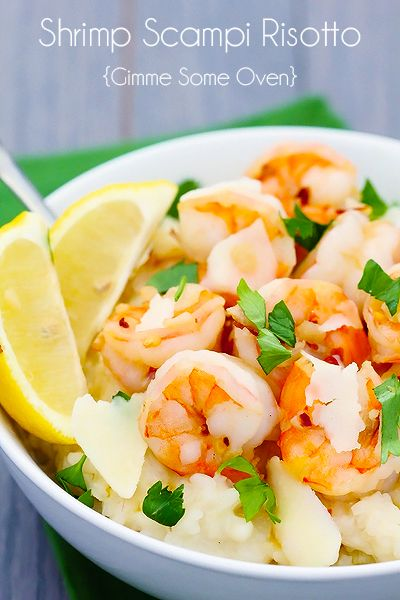 You will love this decadent Shrimp Scampi With Parmesan Risotto recipe. This dish features the flavors of lemon, butter and garlic. So quick and easy to prepare!
