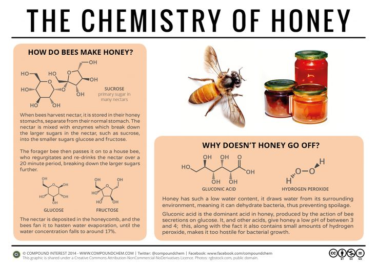 The chemistry behind how bees make honey, and why it doesn't spoil. Click the 'visit site' button to read more and download.