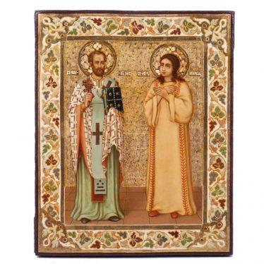 Ikone im Stil der Jugendstil der Heilige Johannes Chrysostomus und der Heiligen Märtyrerin Ираида