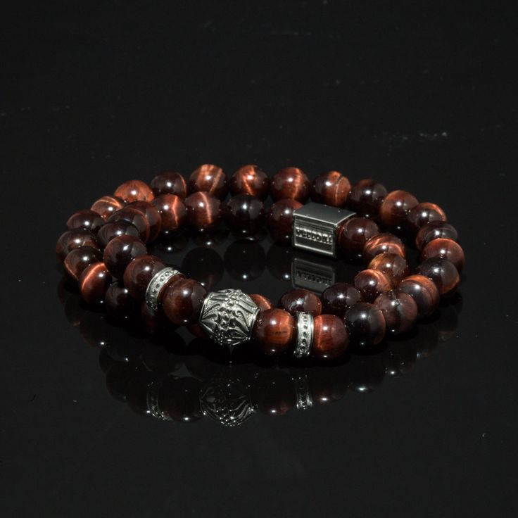 verroni Tiger's Blood Twisted Double sized handcrefted premium bracelet with hand selected natural red tiger eye and stainless steel.