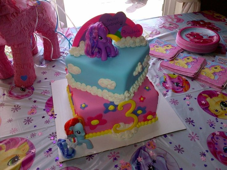 Square my little pony cake