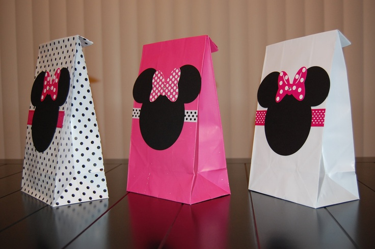 Minnie Mouse Favor Bags Pink White and Polka by KeepsakeToppers, $13.00 for 10