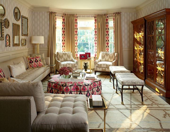 Tour The 2013 Designer Showhouse: Metallic Stripes Play Up The Dramatic  A Frame Of This Front Bedroom By Baltimore Design Group. : Pops Of Pink  Ikat Help To ...