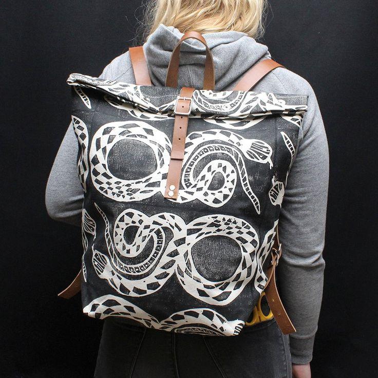 Image of Snake Block Print Large Backpack