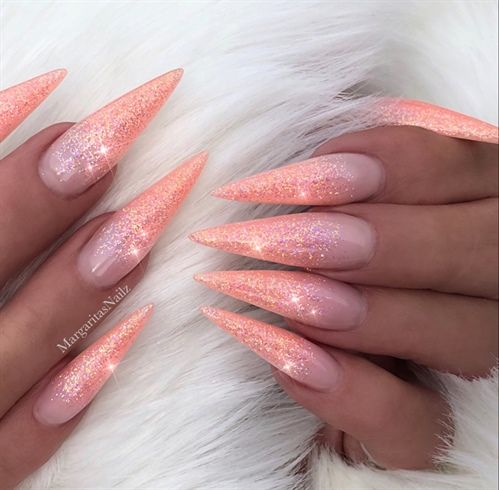 Nail Art aus der Nail Art Galerie des NAILS Magazine, Gel, Peach, Beautiful, Glitter … – Nails