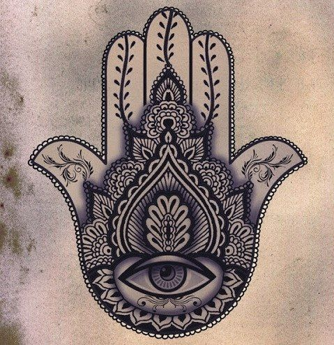Hamsa Tattoo - The hamsa is an ancient Middle Eastern amulet symbolizing the Hand of God. In all faiths it is a protective sign. It brings it's owner happiness, luck, health, and good fortune. I NEED THIS!