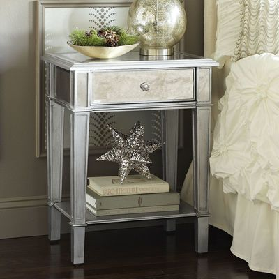 hayworth mirrored nightstand silver
