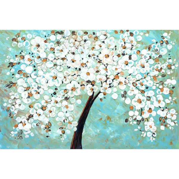 Portfolio Canvas Decor Jolina Anthony 'White Cherry Blossom' Framed... ($60) ❤ liked on Polyvore featuring home, home decor, wall art, canvas panels, floral wall art, floral home decor, white home decor and framed floral wall art