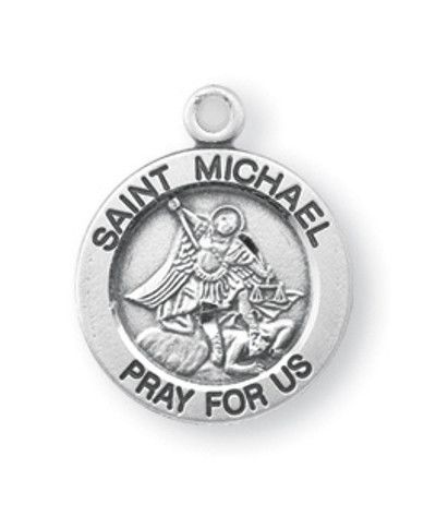 """HMH Religious Small Round St Michael Sterling Silver Medal Necklace w/18"""" Chain"""