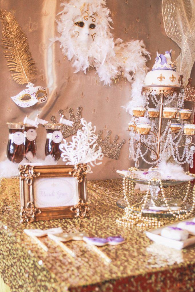 fun ideas for bridal shower themes%0A Mardi Gras  Elegant Bridal Shower  Party table    Elegant Bridal  ShowerTheme