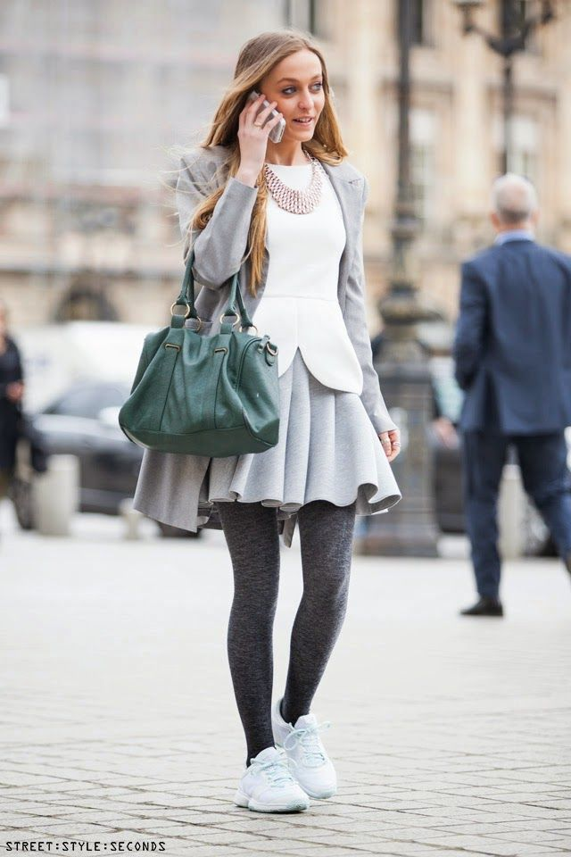 What To Wear With White Sneakers Grey Skater Skirt Dark